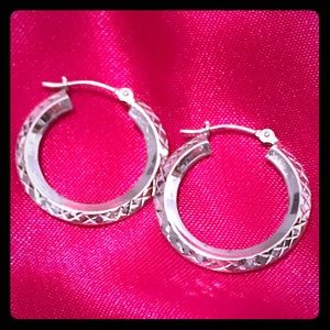 Jewelry - 0.925 Silver Hoops with Detail- Nickle Sized